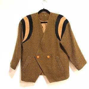 Vintage Women's Blazer houndstooth Tan black